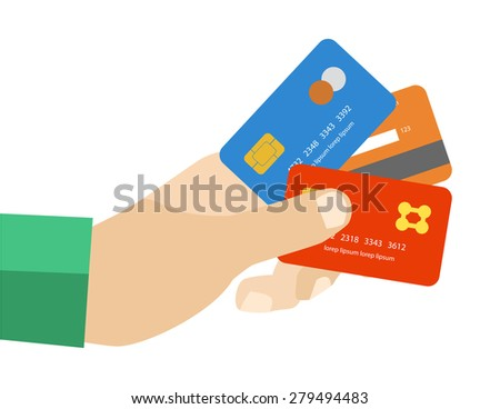 hand holding credit cards to pay - stock vector