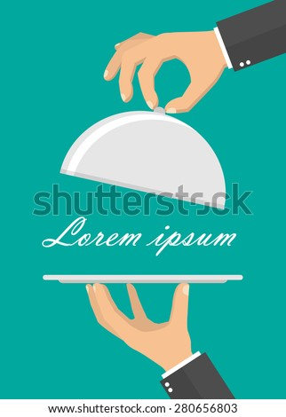 Hand holding empty silver serving tray - flat style - stock vector