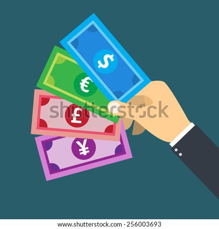 Hand holding  foreign currency banknote  vector for financial and business concept.  - stock vector