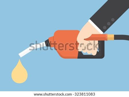 Hand holding gas fuel pump nozzle, VECTOR, EPS10 - stock vector