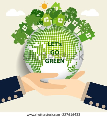 Hand holding Green Eco Earth. Vector Illustration. - stock vector