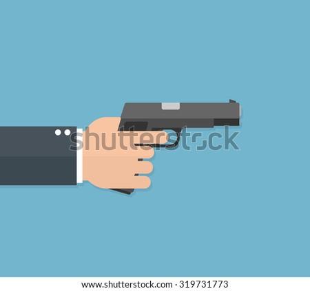 Hand holding handgun or pistol. Flat style - stock vector