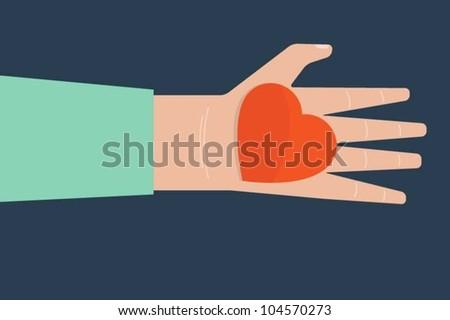 Hand holding heart - stock vector