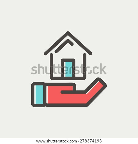 Hand holding house icon thin line for web and mobile, modern minimalistic flat design. Vector icon with dark grey outline and offset colour on light grey background. - stock vector