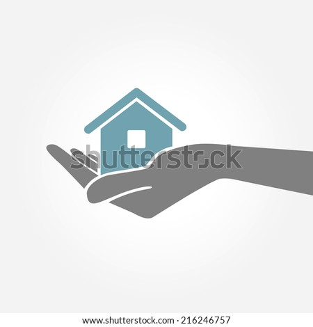 Hand holding house. Vector Illustration. - stock vector