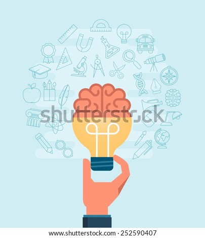 hand holding light bulb with a brain surrounded with set of thin line icons, vector illustration - stock vector