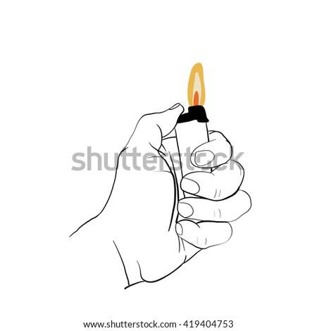hand holding lighter - stock vector