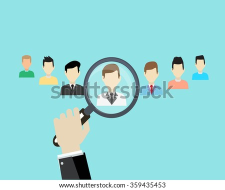 Hand holding  Magnifier Human resources management search employee. - stock vector