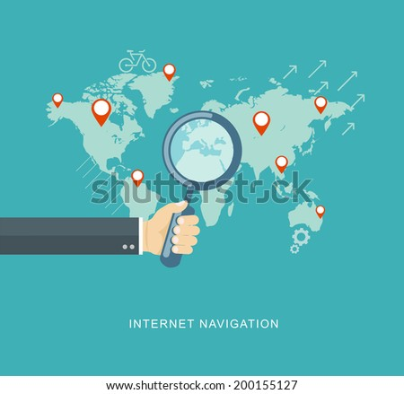 Hand holding magnifying glass flat illustration. eps10 - stock vector