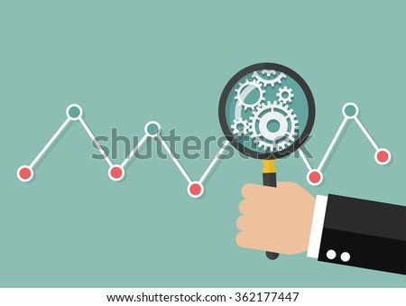 Hand holding magnifying glass with stock market graph. Data analysis - stock vector