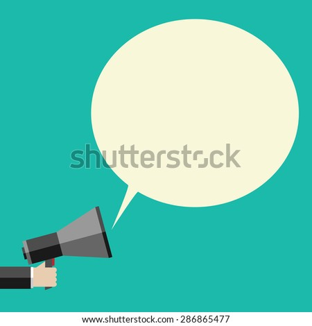 Hand holding megaphone and large speech bubble with copy space. Promotion, marketing, business concept. EPS 10 vector illustration, no transparency - stock vector