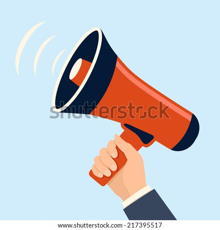 hand holding megaphone loudspeaker icon. flat style vector illustration - stock vector