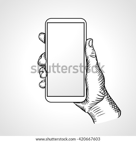 Hand Holding Mobile, front view. Vector illustration - stock vector