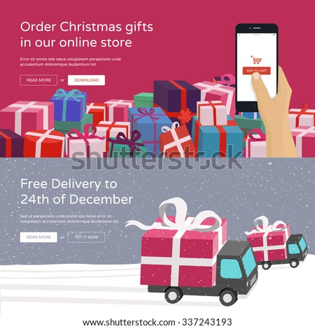 Hand holding mobile phone and ordering Christmas gifts & Free Delivery service for online store. Modern vector illustration banners for website.  - stock vector