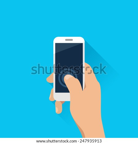 Hand holding mobile phone in flat design style - stock vector