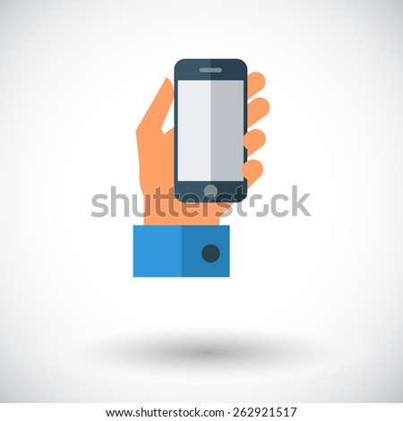 Hand holding Mobile phone. Single flat icon on white background. Vector illustration. - stock vector