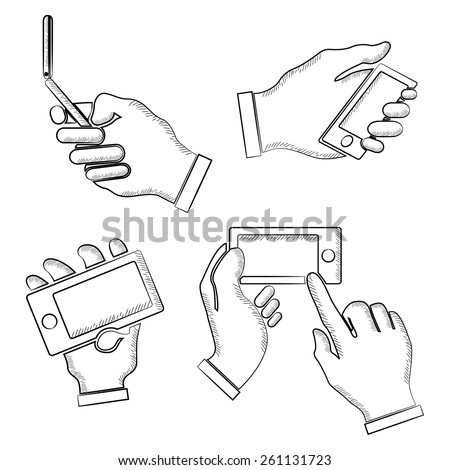 hand holding mobile phone, sketch hand gestures  - stock vector