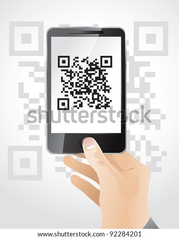 hand holding mobile phone wit qr code - vector illustration - stock vector