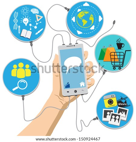 Hand holding mobile phone with connection social media - stock vector