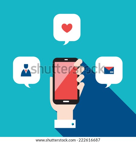 Hand holding mobile phone with icons and speech bubbles. Communication in the network concept. Vector illustration - stock vector
