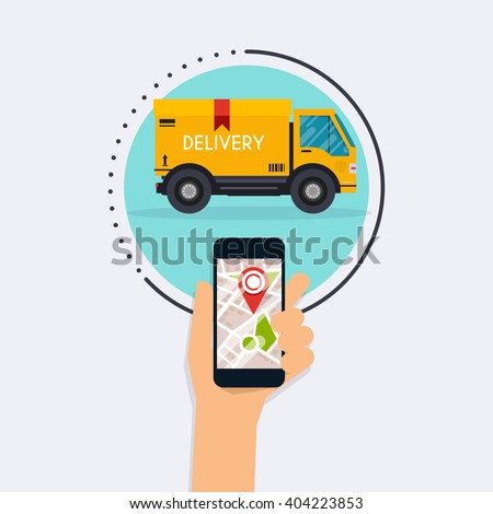 Hand holding mobile smart phone with mobile app delivery tracking. Vector modern flat creative info graphics design on delivery tracking application. Flat design modern vector illustration concept. - stock vector