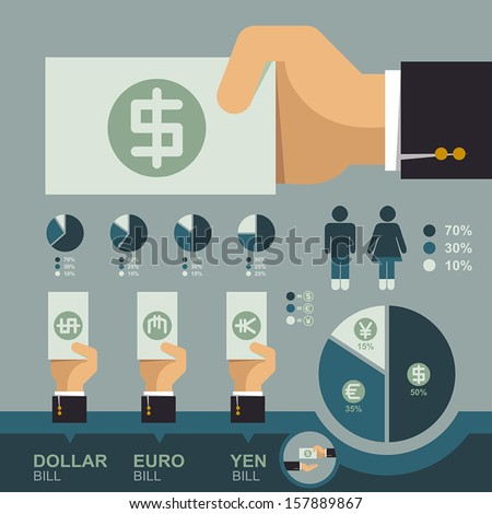 Hand holding money bill infographic, Business concept - stock vector