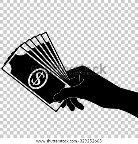 hand holding money vector icon - black illustration - stock vector