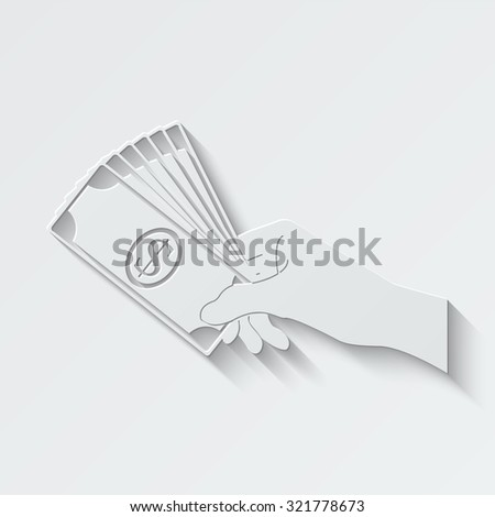 hand holding money vector icon - paper illustration - stock vector