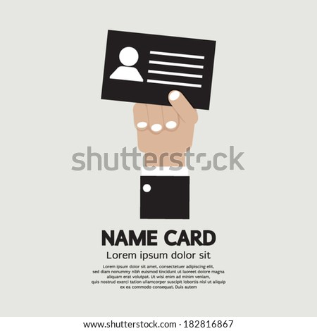 Hand Holding Name Card Vector Illustration - stock vector