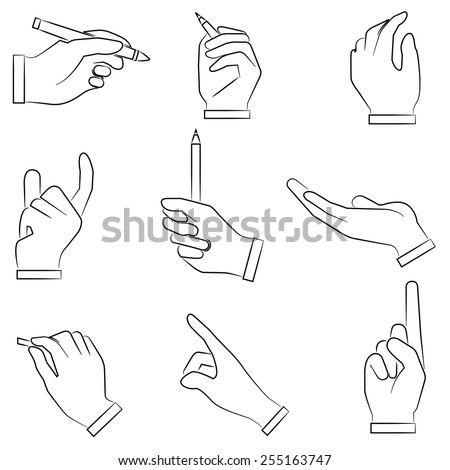 hand holding pen, hand gestures icons set - stock vector