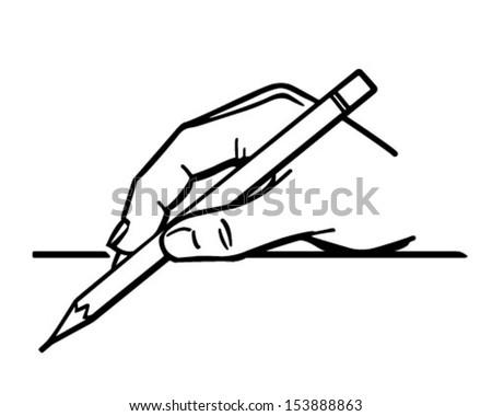 Hand Holding Pencil 2 - Retro Clip Art Illustration - stock vector