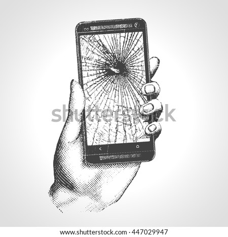 Hand Holding Phone Broken Screen. Hand drawn engraving style pen crosshatch hatching paper painting retro vintage vector lineart illustration of the modern smartphone - stock vector