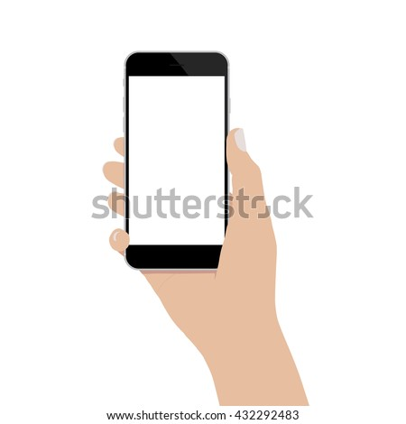 hand holding phone isolated on white background vector design - stock vector