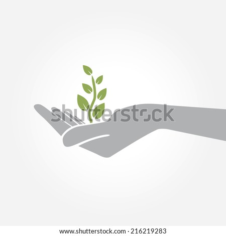 Hand holding plant. Growth concept vector illustration. - stock vector