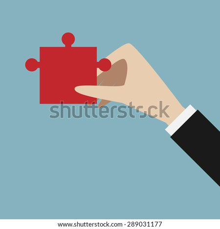 Hand holding red jigsaw puzzle piece. Solution, success, business concept. EPS 10 vector illustration, no transparency - stock vector
