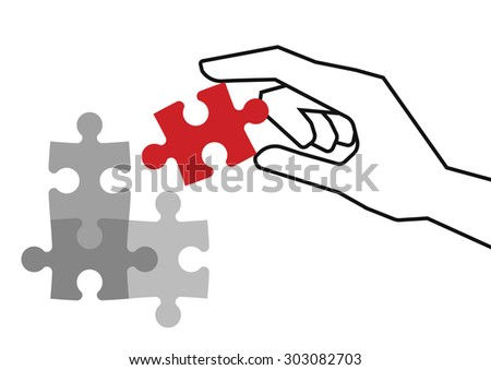 Hand holding red piece of puzzle over grey unfinished pieces - stock vector