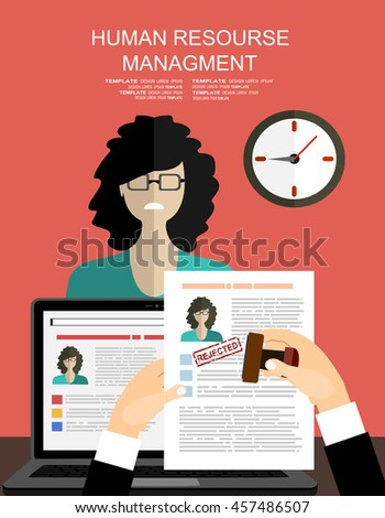 Hand holding resume and stamp with rejected. A sad woman is not got a job. Human resources management concept, searching professional staff, analyzing resume papers, work. illustration in flat design  - stock vector