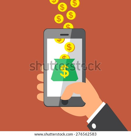 Hand holding smart phone and Earning Money Coins - stock vector