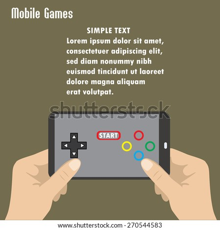 Hand holding smart phone, the screen icon game controller. - stock vector
