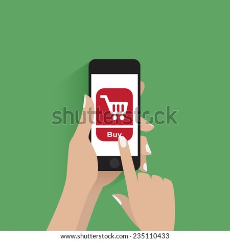 Hand holding smart phone with buy button on the screen. - stock vector