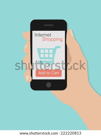 Hand holding smart phone with shopping concept on turquoise background. Flat design   - stock vector