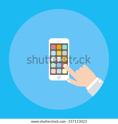 Hand holding smartphone  and selects the necessary application.  Using mobile smart phone similar to iphone. Flat vector illustration. - stock vector