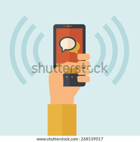 Hand holding smartphone with bubble, call and sends message via sms chat with internet wifi. Communication concept. A contemporary style with pastel palette, soft blue tinted background. Vector flat - stock vector