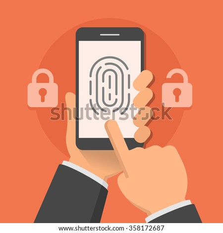 Hand holding smartphone with fingerprint on the screen, flat style vector illustration - stock vector