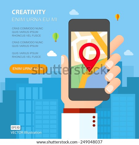 Hand holding smartphone with mobile gps navigation on the screen. Flat design vector illustration - stock vector