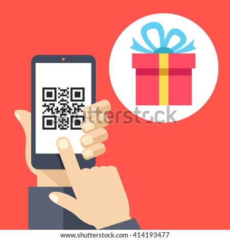 Hand holding smartphone with QR code on screen and gift. Scan QR code and get a gift or discount concept. Flat design vector illustration isolated on red background - stock vector