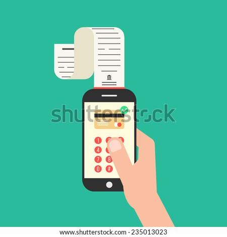 hand holding smartphone with shopping check. concept of mobile payments, e-commerce and apple pay for service. isolated on green background. flat style trendy modern design vector illustration - stock vector