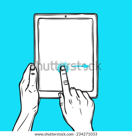Hand holding tablet device and touching a button sketch on blue background vector illustration. - stock vector