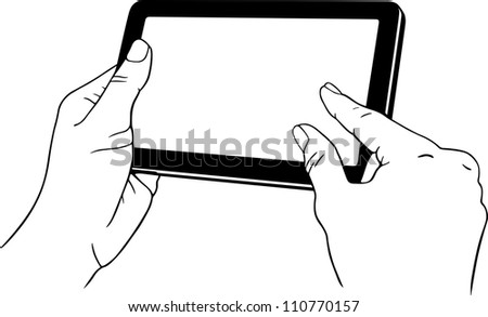 Hand holding tablet pc - stock vector