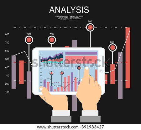 Hand holding tablet with infographic on it. Market analysis. Flat design. vector illustration - stock vector